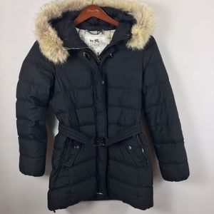 COACH down puffer coat jacket black real fur hood